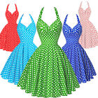 Vintage Retro Style Rockabilly Polka Dot Swing 1950s HOUSEWIFE Pinup Party Dress