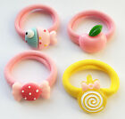 Ladies / Girls 2 Pack of Pink or Yellow Fish Apple Bow Hair Band Bobble Tie