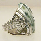 Wire Wrapped 925 Sterling Green Tree Agate Ring