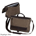 """SnapdragonIdeas The Autumn 15.4"""" Computer Leather Canvas Messenger P6523 Brown"""