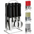 24PC CUTLERY DINNER SET STAINLESS STEEL METAL STAND RACK FORKS TEA SPOONS NEW