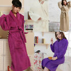 Women Soft Coral Fleece Loose Long Sleepwear Shawl Collar Bathrobe Spa Robes