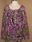 Point of View Womens Plus Size Purple Semi Sheer Long Sleeve Blouse Top 14 16 18