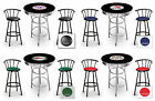 FC586 VINTAGE GAS GARAGE AUTO SHOP THEMED ROUND BAR TABLE & BLACK STOOLS SET