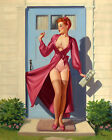Vintage Pin Up Girl Dress Caught in Door Sexy Art Print Retro Poster A3 A4