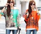 25199/201-Green / Orange Flower Print 3/4 Sleeve Chiffon Blouse Top-UK 8,10,12