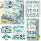 Duvet cover+Pillowcase/Curtains - Baby/Toddler,/Junior BLUE OWLS WITH SQUIRREL