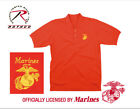 MARINE Embroidered Polo Shirt 100% Cotton Red collared Golf shirt New Mens Small