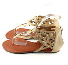 Beige  Cut Out V Strap Rhinestone Accent Dress Gladiator Flat Sandals Shoes