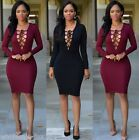 Sexy Womens Club Party Dress Long Sleeve Bandage Bodycon Cocktail Lace Up Dress