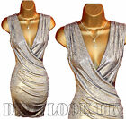 Size 8 10 12 14 Wrap Grey silver bodycon ruched dress Womens Evening Party