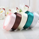 25Yards 10/15/20/25mm Ribbon Wedding Party Craft Satin DIY hair Bow 11 Colors U