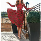 Women Casual Plaid Long Sleeve Cocktail Evening Party Cocktail Long Madi Dress