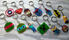 6x BOYS KEYRINGS KEY CHAIN BOY PARTY BAG FILLERS GIFT PLASTIC WOODEN BOOK TAGS