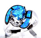 1.5 Carat Blue Topaz & Blue Fire Opal Inlay 925 Sterling Silver Ring 6,7,8,9