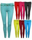 LADIES WOMENS STUDDED BELTED STRETCHY SKINNY JEANS TROUSERS SIZE 6 8 10 12 14