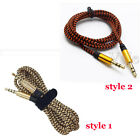 1.5M 3M Braided 3.5mm Male To Male Stereo Audio AUX Cable Cord PC iPod CAR Lot