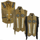 Unisex Suede Waistcoat Beige 100% Genuine Everyday Style Fashion Tassel Warm