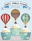 Vintage Hot Air Balloon Ballooning Sky Birthday Party Cupcake Toppers cup cake