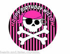 Girls Pirate Party Pink black Party Cake Decoration icing sheet personalised