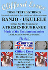 UKULELE-BANJO STRINGS. A COMPREHENSIVE RANGE. LIGHT GAUGE - MADE IN BRITAIN.