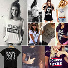 Summer New Women Casual Short Sleeve Loose T-shirt Letter Print Graphic Tee Tops