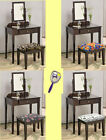 RK28 ESPRESSO CAPPUCCINO MAKE UP VANITY TABLE DESK W/ SEAT CUSHION BENCH MIRROR