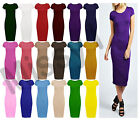 New Womens Ladies Cap Sleeve Stretch Plain Bodycon Midi Maxi Dress 8-26