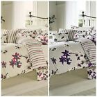 Sakura Floral Blossom Bedding Duvet Cover Mauve Cranberry Reversible Striped