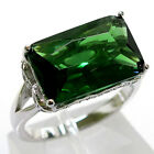 GORGEOUS 7 CT EMERALD 925 STERLING SILVER RING SIZE 5-10