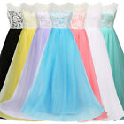 Lace Tulle Long Pageant Ball Gown Bridesmaids Wedding Evening Prom Guest Dress