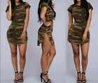 Summer Sexy Ladies Short Sleeve Casual Camouflage Print Slim Party Mini Dress