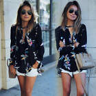New Fashion Chiffon Womens T Shirt Floral Print Long Sleeve Blouse Casual Tops
