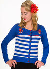 NEW BANNED BLUE & WHITE STRIPES 1950S ROCKABILLY RETRO NAUTICAL CARDIGAN 10-14