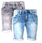 SUBLEVEL Damen Jogg jeans Shorts Bermuda Sweat Shorts Sommer kurze hose jogg