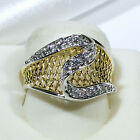 18K Yellow White Gold Filled Two Tone Women Fashion Jewelry Ring R6816 Size 5-10