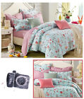 Pink Floral Single Double Queen King Size Bed Set Pillowcases Quilt Duvet Cover