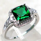 GORGEOUS 2 CT EMERALD 925 STERLING SILVER RING SIZE 5-10