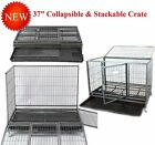 """New 37"""" Homey Pet Stackable Open Top Heavy Duty Dog Metal Cage Kennel w/ Tray"""