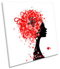 Fashion Hairstyle Hearts Hairdressers SQUARE CANVAS WALL ART Picture Print