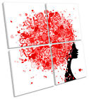 Hairstyle Hearts Fashion Hairdressers MULTI CANVAS WALL ART Square Picture