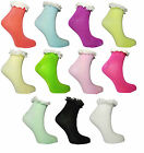 Ladies Ankle Socks with Frill Pastel Colours Casual Soft Blend Womens Size 4-7