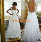 A Line Backless Lace Beach Wedding Dress White Ivory Bridal Gown 4 6 8 10 12 14