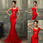 STOCK New Long LACE Bridesmaid Formal Gown Ball Party WEDDING Evening Prom Dress