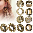 TRIBAL SUNBURST ANTIQUED BRASS-FLESH TUNNELS-Ear Gauges-Ear Plugs-EAR TUNNEL