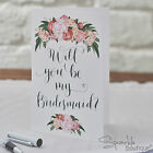 WILL YOU BE MY BRIDESMAID? Card & Envelope (Single/Pack of 5) Floral/Boho/Rustic