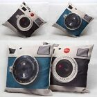 Vintage Camera Print Cotton Linen Pillowcase Sofa Car Throw Waist Cushion Cover