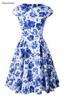 Blue and White Floral Cap Sleeve Women 1950s Rockabilly Vintage Prom Dressses