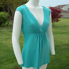 Candie's Juniors Solid Aqua Casual Sleeveless Rayon Top w/Draped & Cutout Back