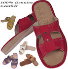 ladies Womens 100% Natural leather slippers flip-flop HQ size 2 3 4 5 6 7 8 9 10